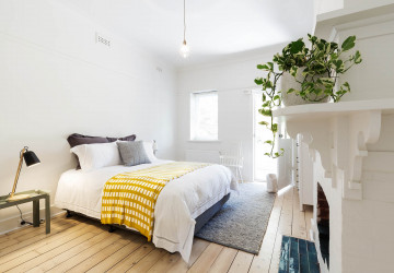 Luxury guest bedroom in vintage scandi styled home