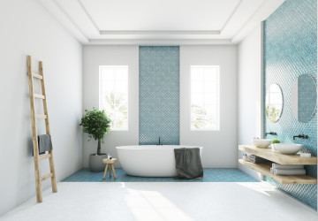 Blue and white bathroom, white tub