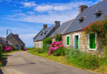 Bretagne Haus mit Hortensien - typical old house and hydrangea flower in Brittany, France